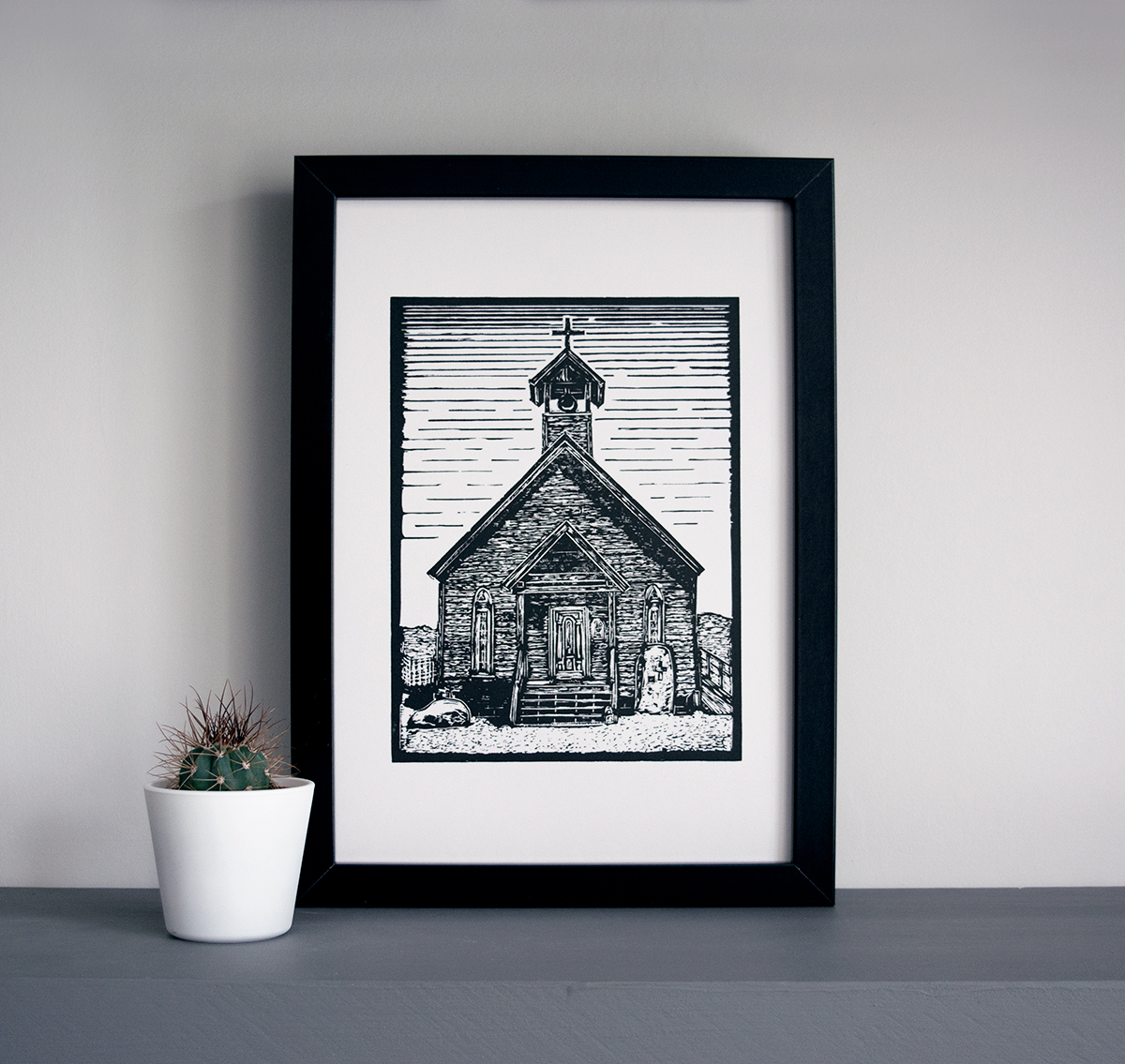 Bodie ghost town church linocut art print