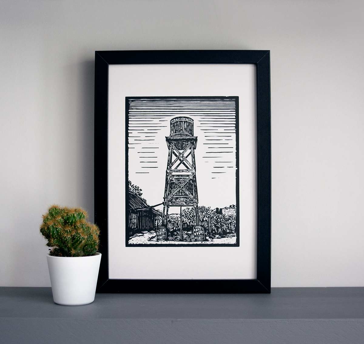 Bodie ghost town water tower linocut art print