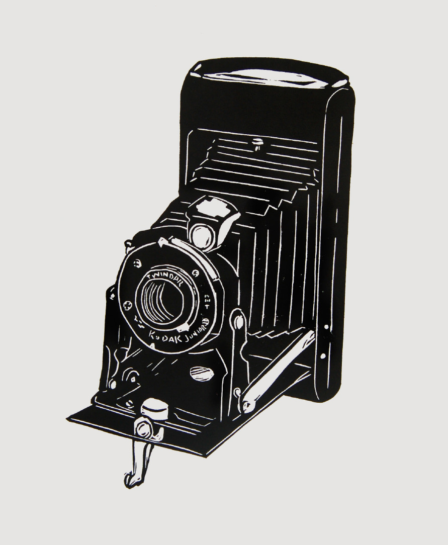 Old Kodak Camera art linocut print