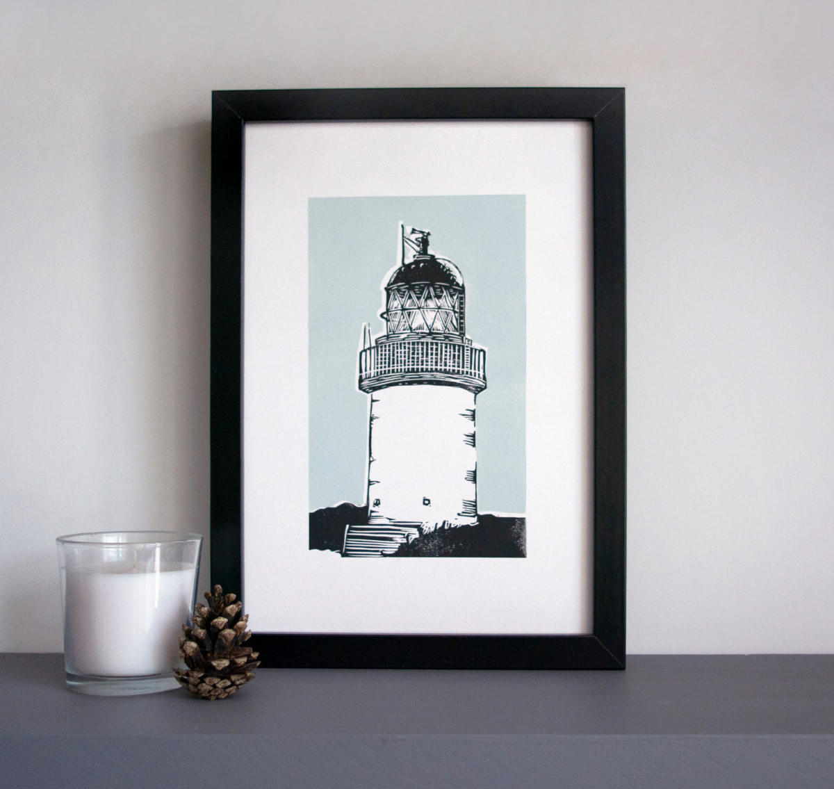 Lighthouse linocut art print