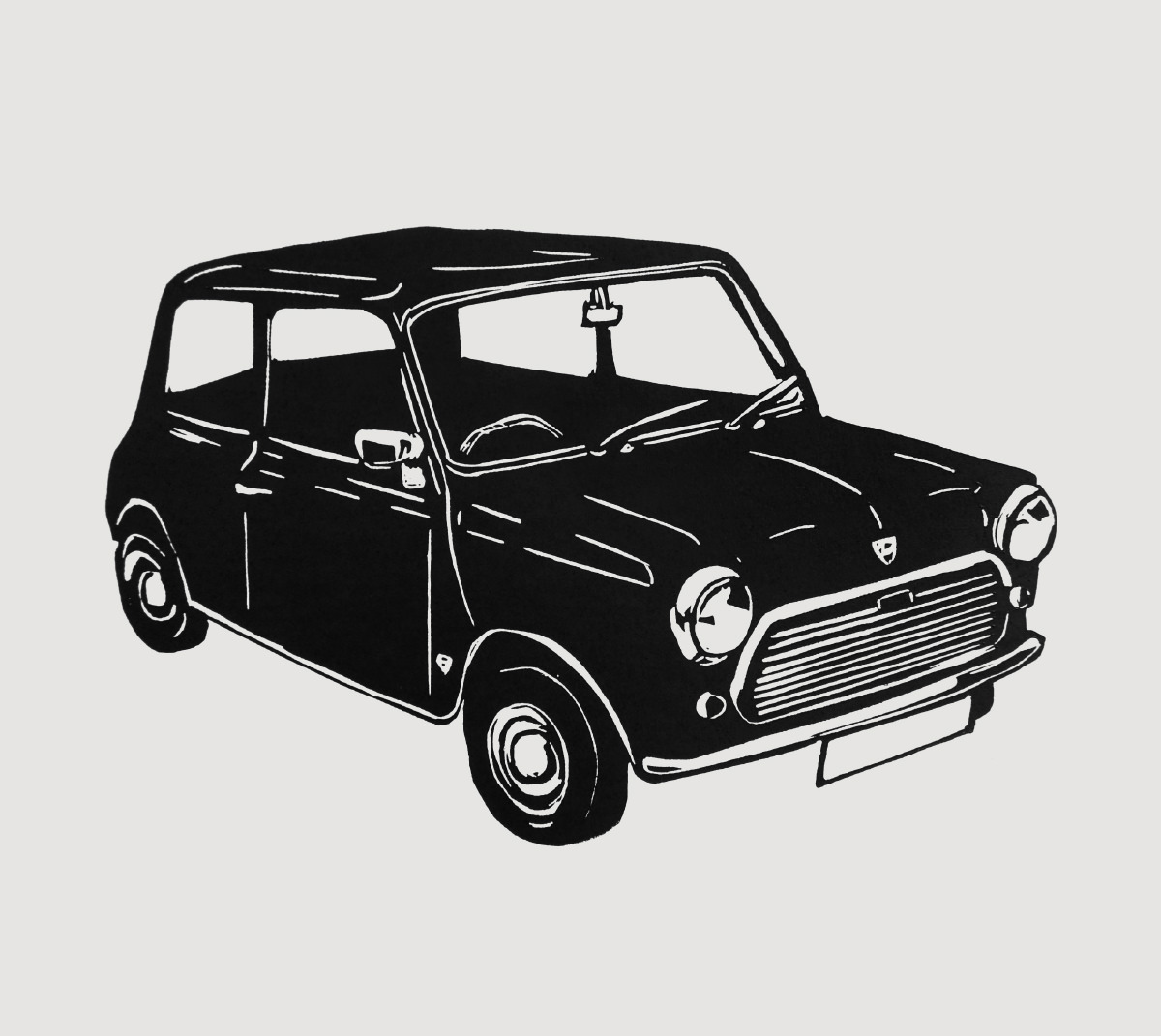 Retro Mini car - linocut print
