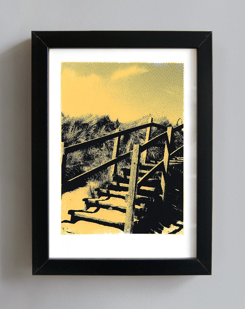 Beach Steps Handmade Art Screenprint