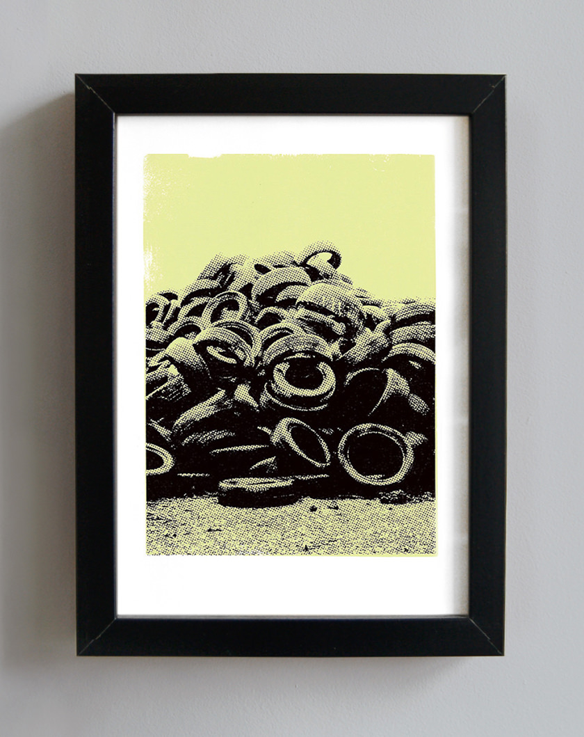 Worn tyres screenprint