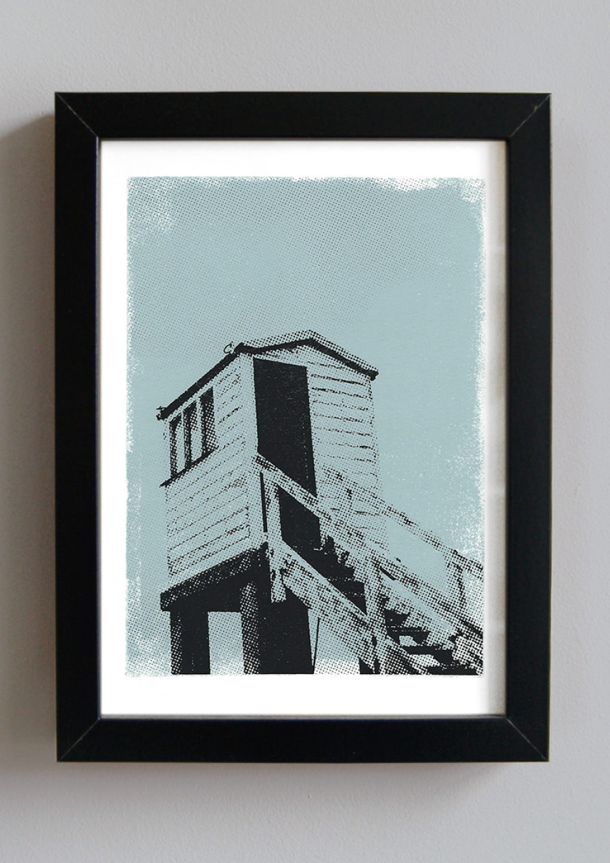 Beach Rescue Tower Handmade Art Screenprint