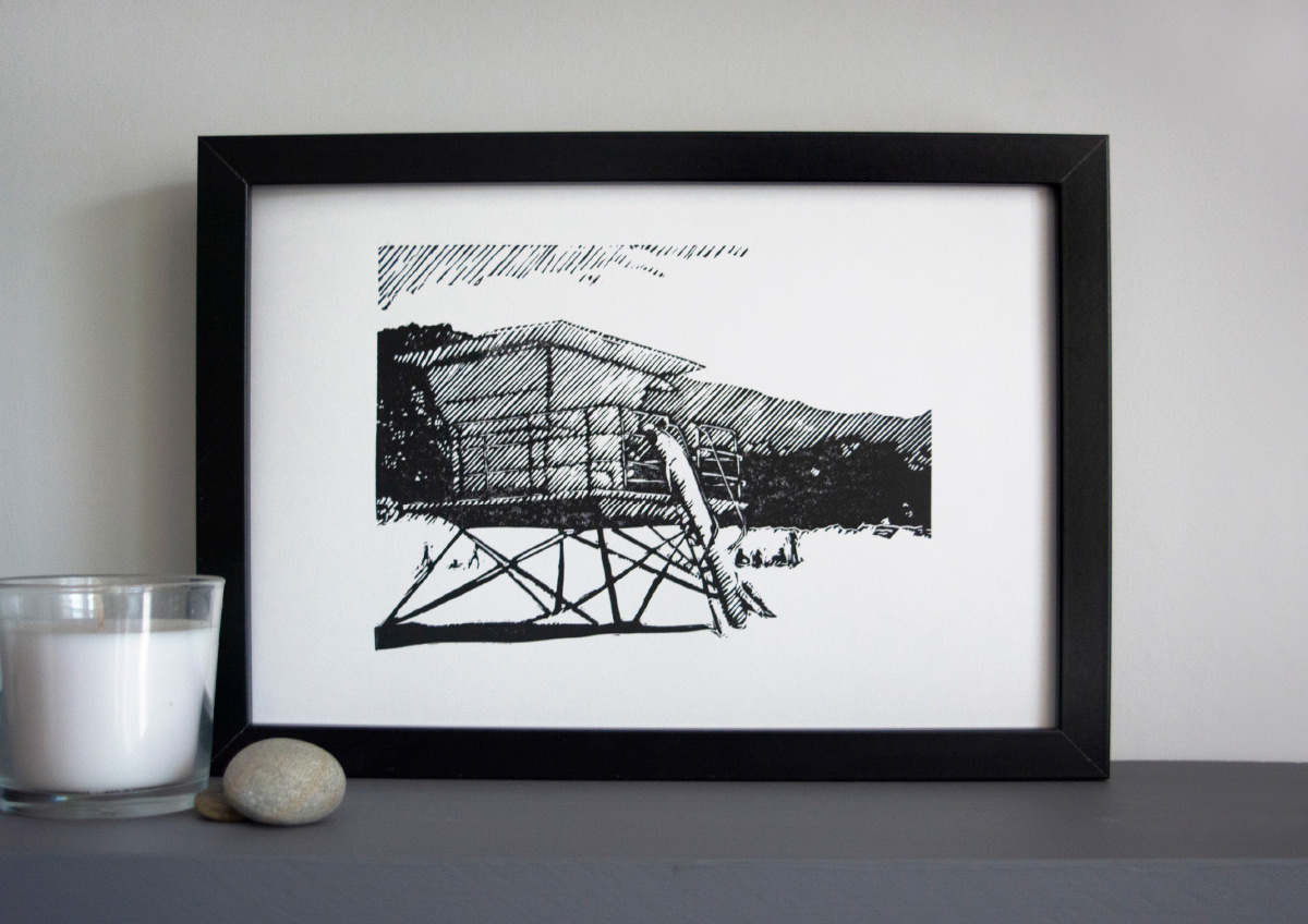 Stinson beach lifeguard tower linocut print